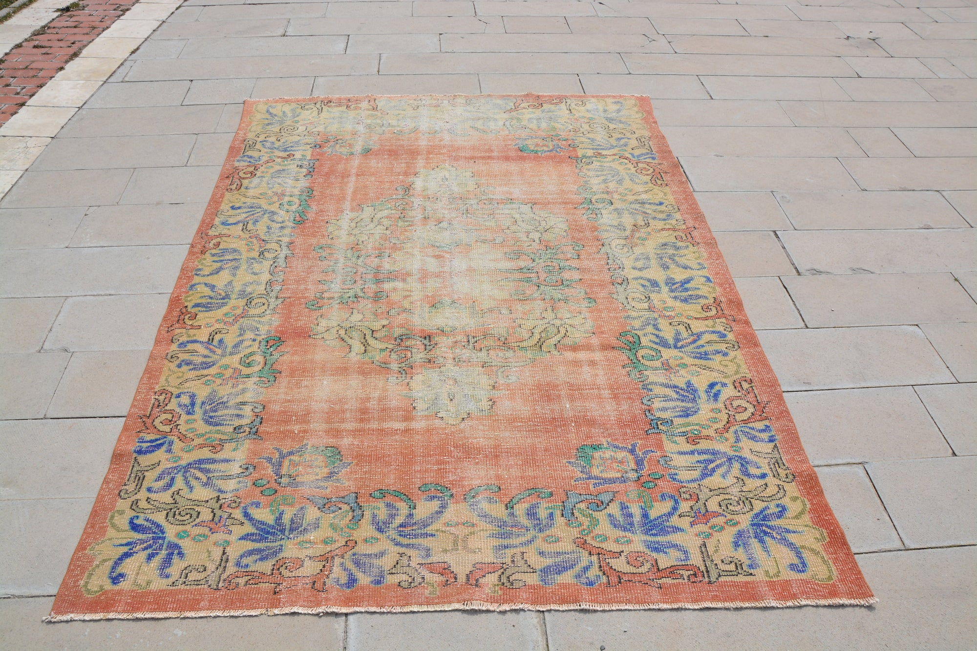 Red Anatolian Rug, Faded Turkish Rug, Turkish Carpet Designs, Turkish Tribal Rugs, Traditional Area Rugs,          6.8 x 9.1  Feet AG1018