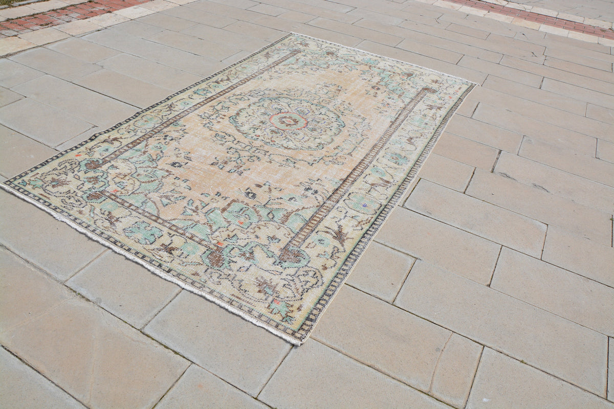 Oriental Carpets and Rugs, Cheap Rugs for Sale, 5x9 Vintage Area Rugs, Cheap Area Rugs, Teal Area Rugs,           5.3 x 9.0  Feet AG1023