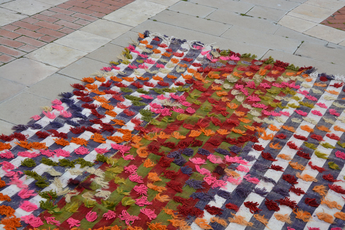 Orange Kilim Rug, Pink Kilim Rug, Colorful Rugs, Turkish Rugs, Oriental  Rugs, Color Rug, Children's Rugs,       5.1 x 9.0  Feet AG1024