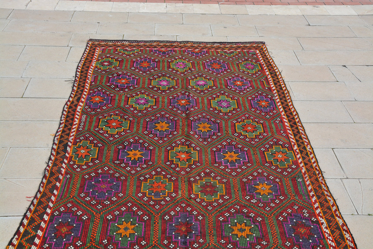 Kilim Rugs, Turkish Carpets , Vintage Kilims, Oriental Rugs, Red Turkish Rug, Geometric Rug,              5.5 x 9.3  Feet AG1044