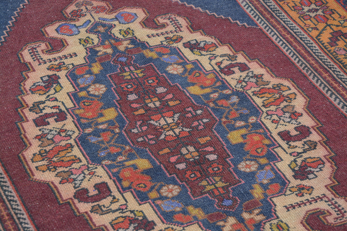 Turkish Floor Rugs, Affordable Turkish Rugs, Turkish Oushak Rug, Blue Oriental Rugs, Sisal Area Rugs,     4.4 x 8.2  Feet AG1099
