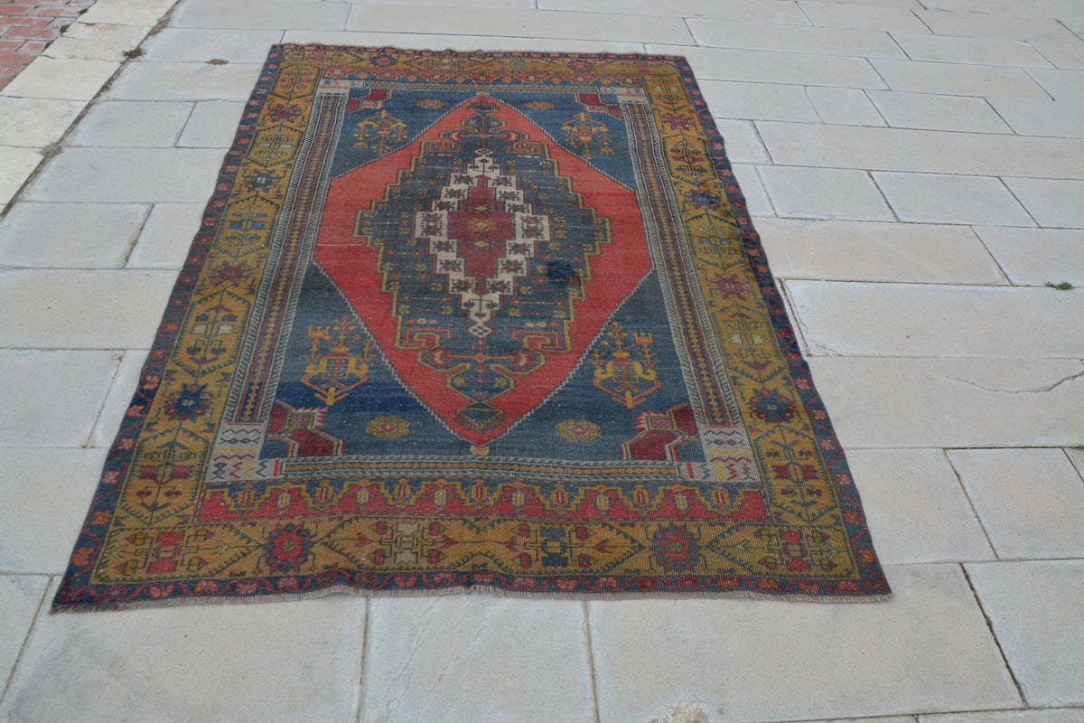 Oushak Rug, Vintage Rugs, Rugs Made in Turkey, Turkish Carpet Company, Antique Carpets, Vintage Wool Area Rugs,     5.0 x 7.4  Feet AG1110