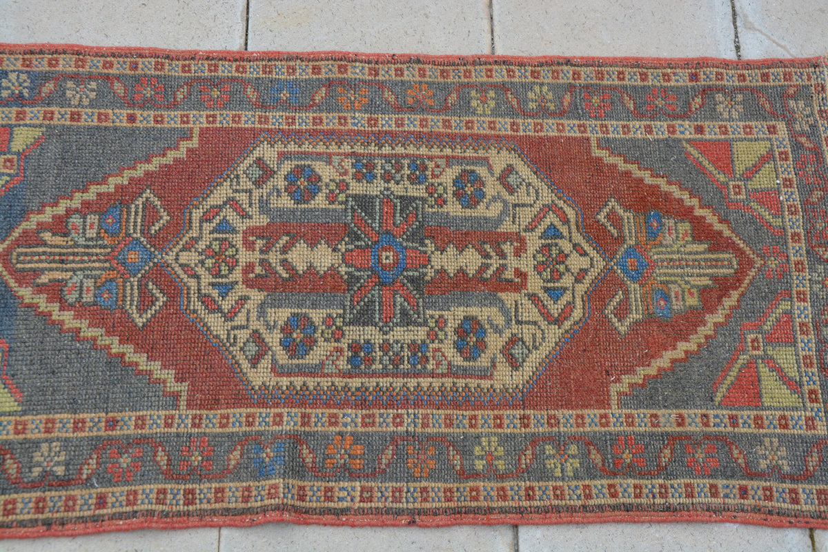 Turkish Rug,Turkish Vintage Low Pile Organic Rug, Handmade Rug, Salon Decorative Rug, Wool Rug, Free Shipping,     1.8 x 3.5 Feet AG1126