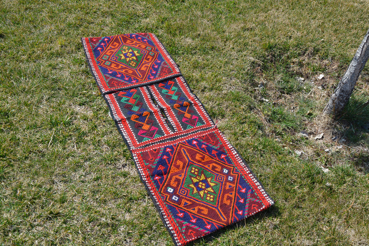 Nomadic Saddle Bag, Tribal Bag, Bike Bag, Anatolian Kilim, Vintage Kilim Rug, Messenger Bag,            1.6 x 4.9 Feet AG1171