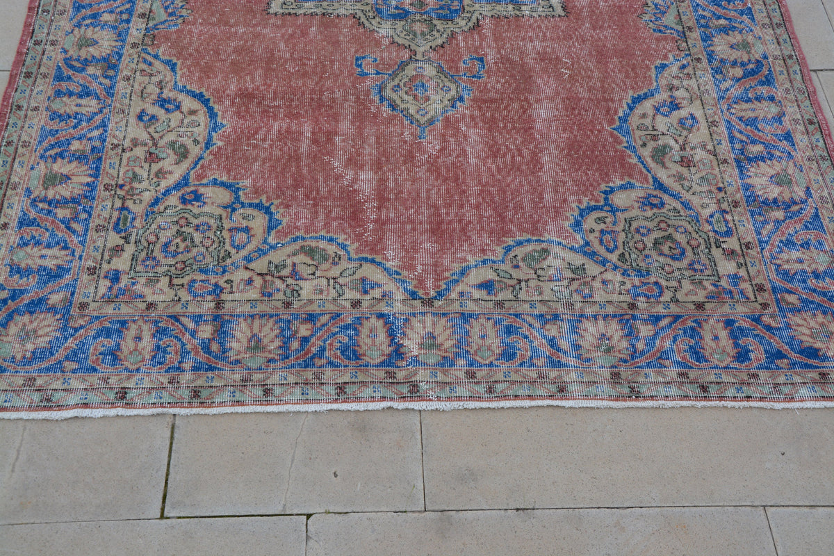 Oriental Rug, Turkish Antique Rugs , Blue and Red Oriental Rug, Rare Turkish Carpets, Beach Rug,    6.8 x 10.1 Feet AG1178