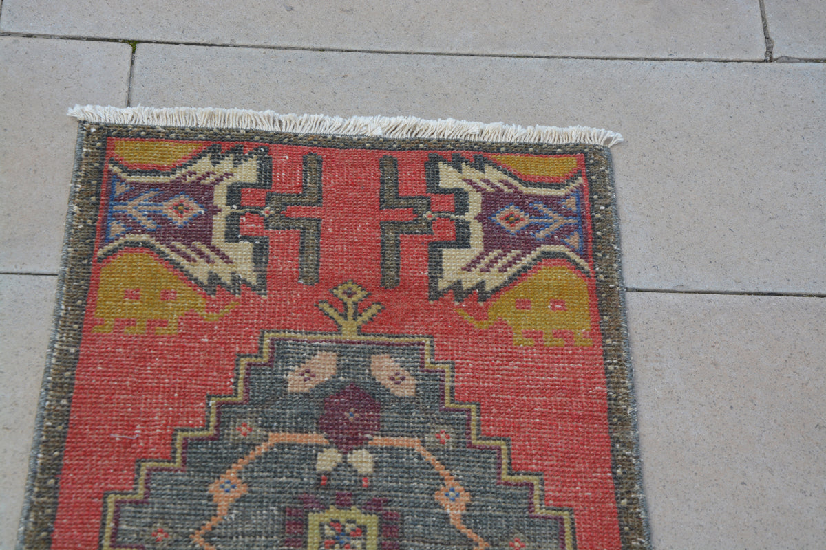 Turkish Rug,Small Kitchen Rug, Decorative Rug, Handmade Rug, Turkish Oushak Rug, Small Oushak Rugs,         1.6 x 3.3 Feet AG1235