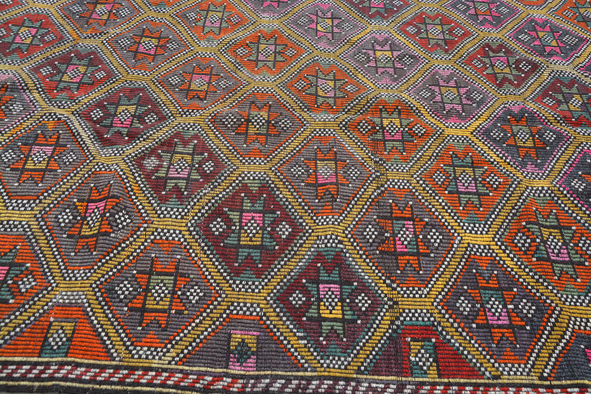6x10 Rug, Low Pile Rug, Wool Carpet, Turkish Rug 6x10, Vintage Oriental Rug, Floor Rug Carpet, Colorful Oushak Rug,    6.2 x 9.8 Feet AG1247