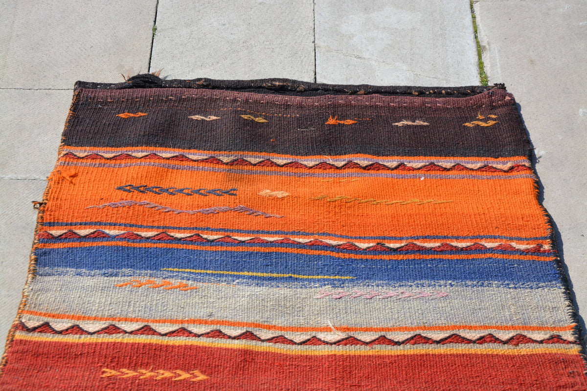 Antique Kilim Chuval, Turkish Pillows, Bohemian Chuval, Handwoven Chuval,   Oushak Kilim Rug,        2.6 x 4.5 Feet AG1286