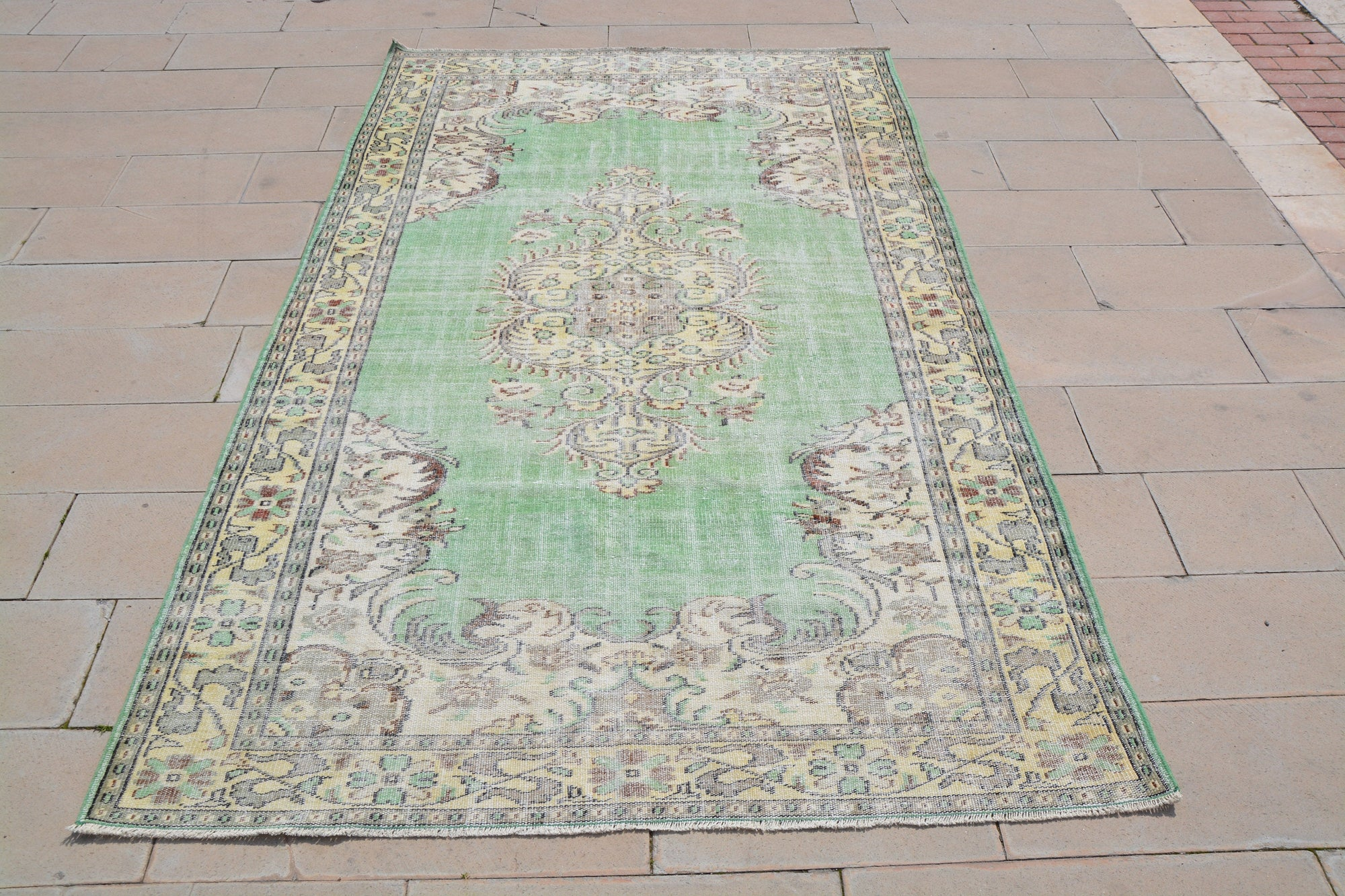 Turkey Rug, Afghan  Turkish Carpets for Sale, Green Oriental  Turkish Area Rugs, Turkish Carpets for Sale,         6 x 9.8  Feet AG1005
