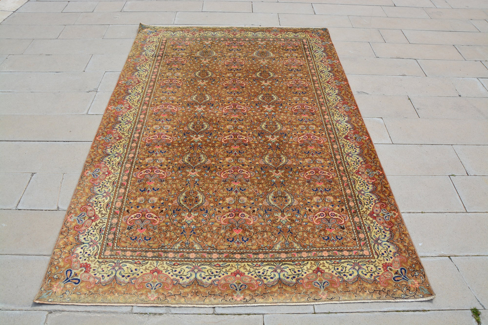 Turkey Rug, Floral Turkish Rug, Oriental Rug Carpet, Bordered Rug, Vintage Rug 6x9,  Turkish Brown  Rug,         6.3 x 9.5  Feet AG1017