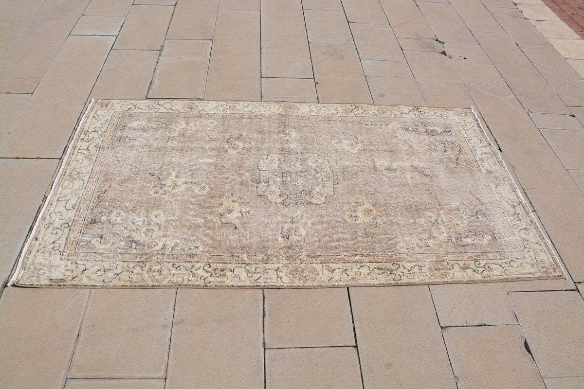 Handmade Carpet, Beige Medium Rugs, Turkish Carpet Design, Oriental Rugs, Fine Turkish Rugs,                    3.7 x 6.6  Feet AG1050