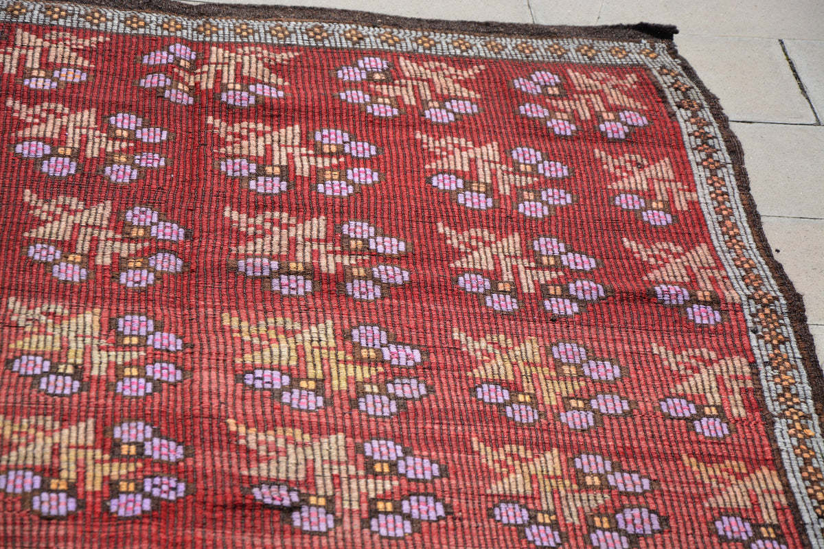 Wool Kilim Rug, Best Area Rugs, Vintage Turkish Kilim, Burgundy Turkish Rug, Area Carpets, Custom Made Rugs,     5.7 x 9.0  Feet AG1084