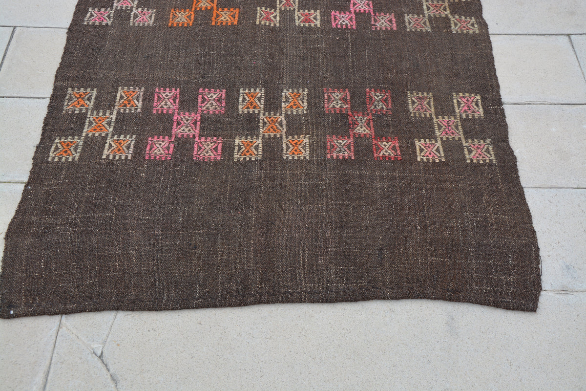 Antique Used Turkish Rugs, Beach Turkish Rug, Solid Area Rugs, Turkish Antiques for Sale, Turkish Rug Brown,    4.3 x 7.8  Feet AG1114