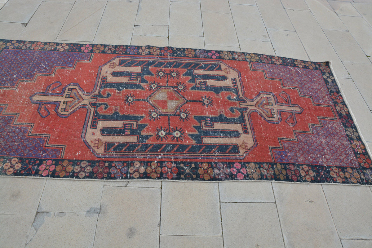 Turkish Oushak Rug Carpet, Vintage Anatolian Rug, Turkish rug, Vintage Rug, Maroon Rug, Area Rug, Turkish Rug,    3.9 x 8.7 Feet AG1124