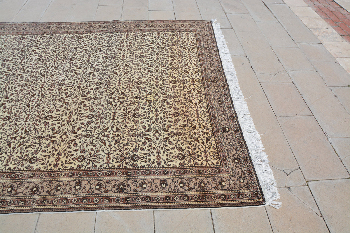 Oriental Rug Brown, Vintage Turkish Carpets, Brown and Beige Turkish Rug, Oriental Rug Gallery, Oriental Vintage Rug, 7.3 x 11.3 Feet AG1137
