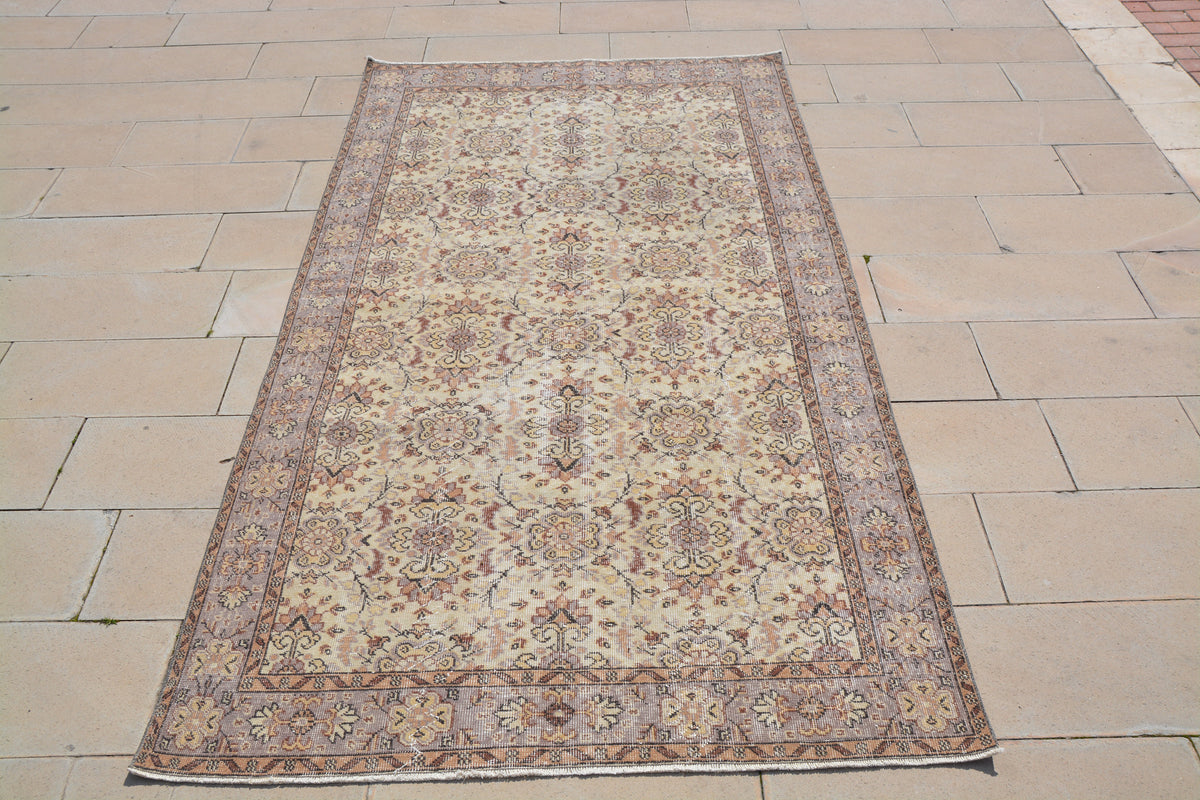 Oushak Beige and White Turkish Rug, Tibetan Turkish Wool Rug, White Turkish Rug, Turkish Carpet, Anatolian Rug, 5.2 x 9.1 Feet AG1145