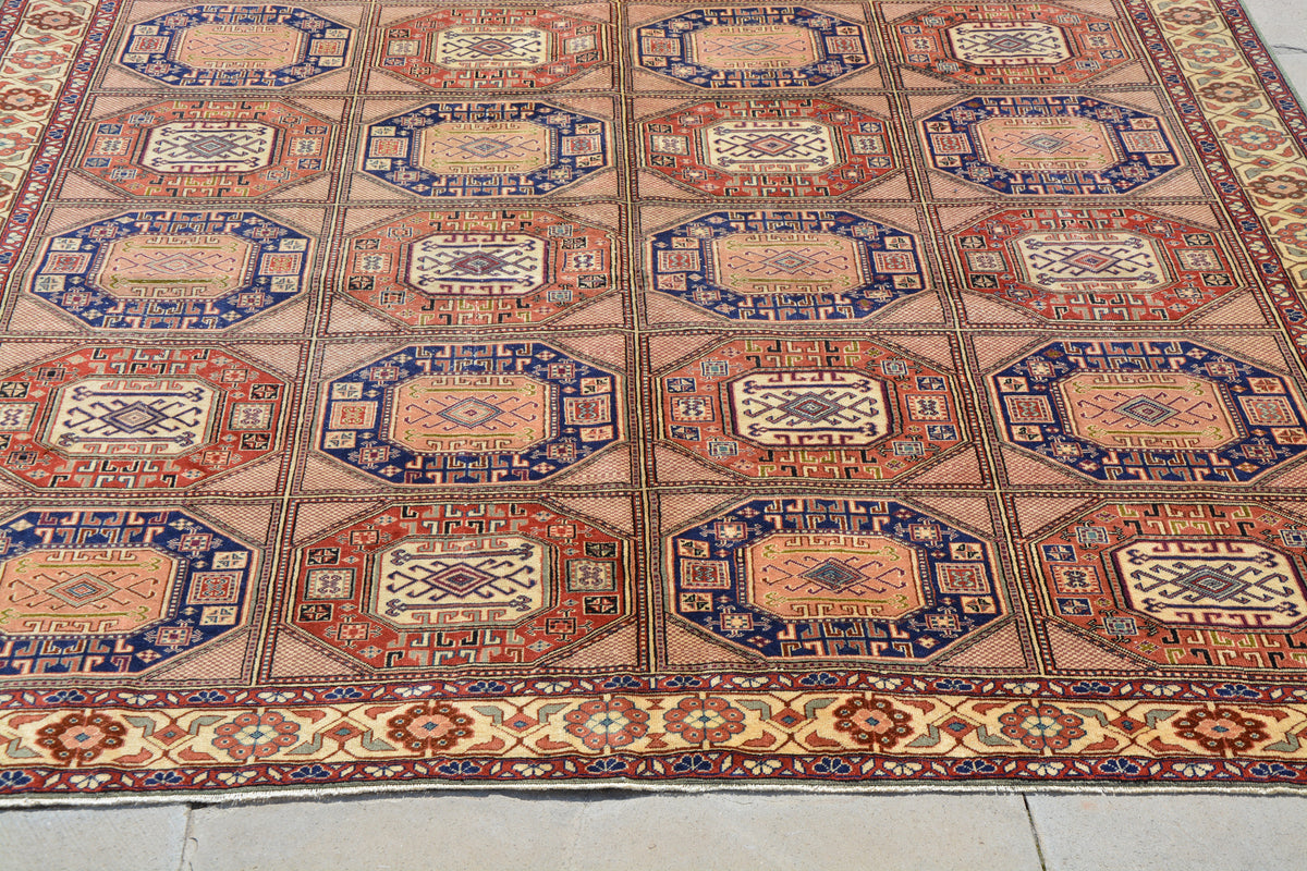 Central Oriental Rugs, Turkish Gabbeh Rugs, Turkish Kayseri Rug, Bohemian Oriental Rugs, Turkish Rug Oushak,  8.5 x 12.4 Feet AG1149