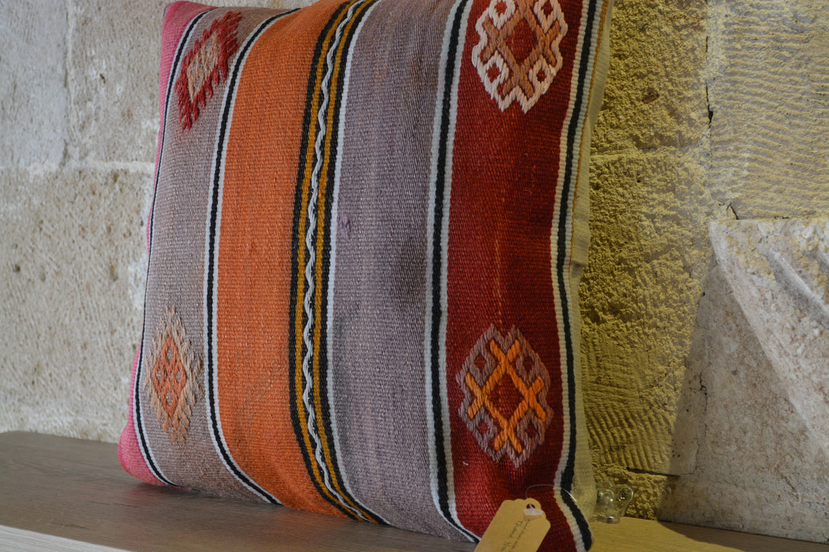 "Floor Cushion Cover, Orange Kilim Pillow, Turkish Kilim Cover, Vintage Kilim, Pillow Cushion, Boho Cushion,         16""x16"" - EA110"