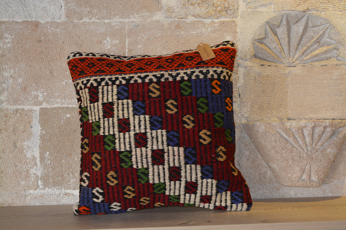 "Kilim Sofa Pillow, Striped Kilim Pillow, 16x24 Kilim Pillows, Handmade Kilim Case, Hand Woven Kilim, Red Kilim Pillow,      16""x16"" - EA111"