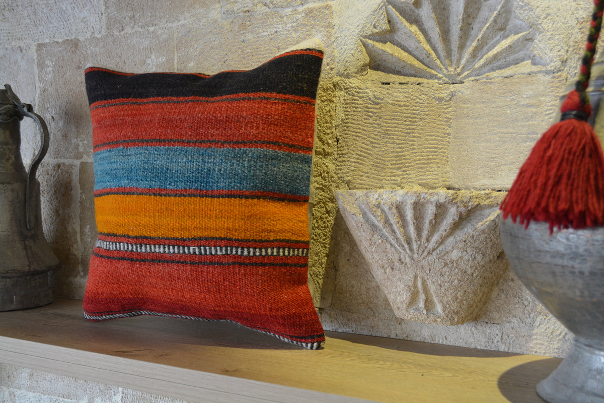 "Pom Pom Cushion, Floor Cushion Kilim, Throw Kilim Pillow, Cushions Uk, Cushion Kilim Rug, Kilim Throw Pillow,        16""x16"" - EA129"