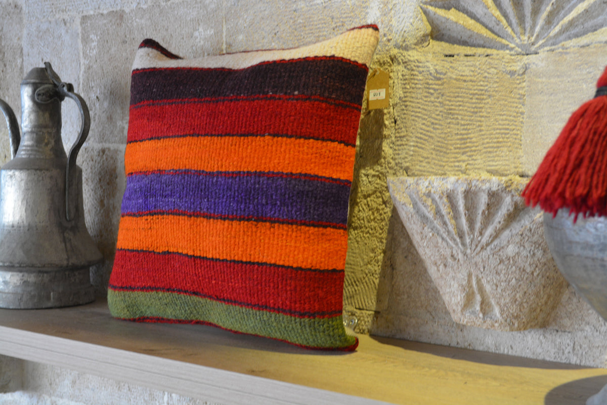 "Cushion Cover, Bohemian Pillow, Decorative Pillow, Kilim Pillows, Handmade Pillow, Vintage Kilim Pillow,           16""x16"" - EA155"