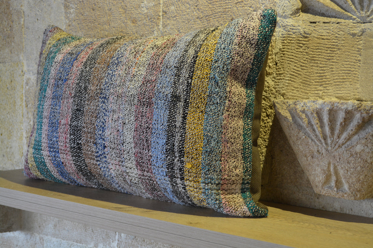 "Cushion Kilim, Antique Kilim Pillow, Kilim Cushion Case, Boho Kilim Pillow, Kilim Pillow 16x16, Colorful Cushion,        16""x24"" - EA299"