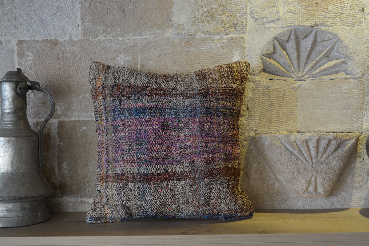 "Kilim Pillow 16x16, 40x40 cm Kilim Pillow, Anatolian Cushion, Patchwork Kilim, Stripe Kilim Pillow, Patchwork Cushion,       16""x16"" - EA128"