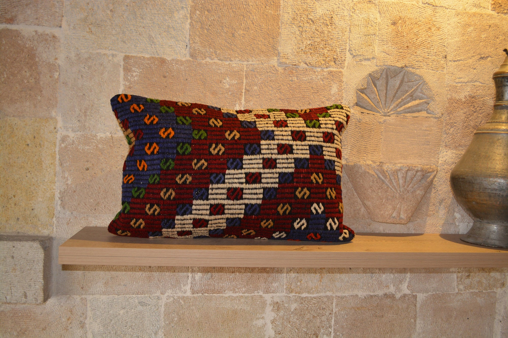 "Kilim Pillow 40x60, Carpet Pillow, Pillow, Kilim Pillow Case, Kilim Rug, Vintage Kilim Pillow, Pillow Kilim, Tribal Pillow,  16""x24"" - EA205"