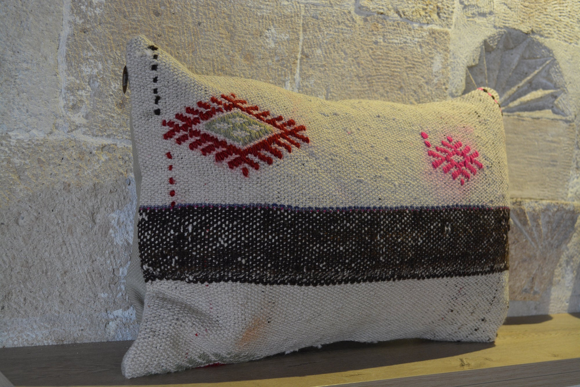 "Wool Pillow, Bed Pillow Cover, Bohemian Pillow, Kilim Sham, Couch Pillow, Turkish Pillow, Cotton Pillow,             16""x24"" - EA219"