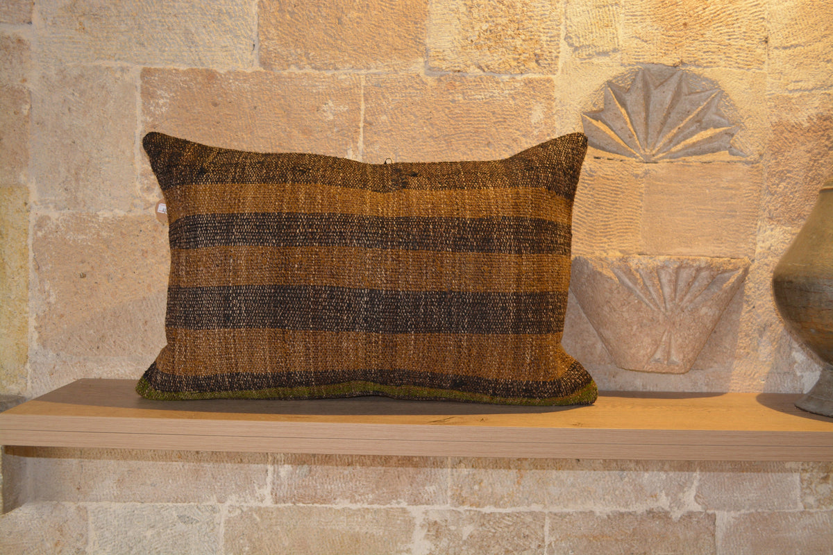 "Decor Kilim Pillow, Antique Kilim Pillow, Kilim Lumbar Cushion, Burlap Pillow, Sofa Pillow Cover, Kilim Sofa Pillow,   16""x24""- EA373"