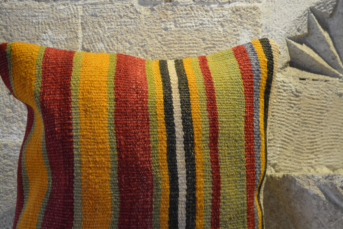 "Kilim Cushion For Sofa, Kilim Floor , Kilim Rug, Kilim Floor Pillow, Turkish Kilim Rug, Bench Cushion, Outdoor Cushion,       16""x16""- EA490"