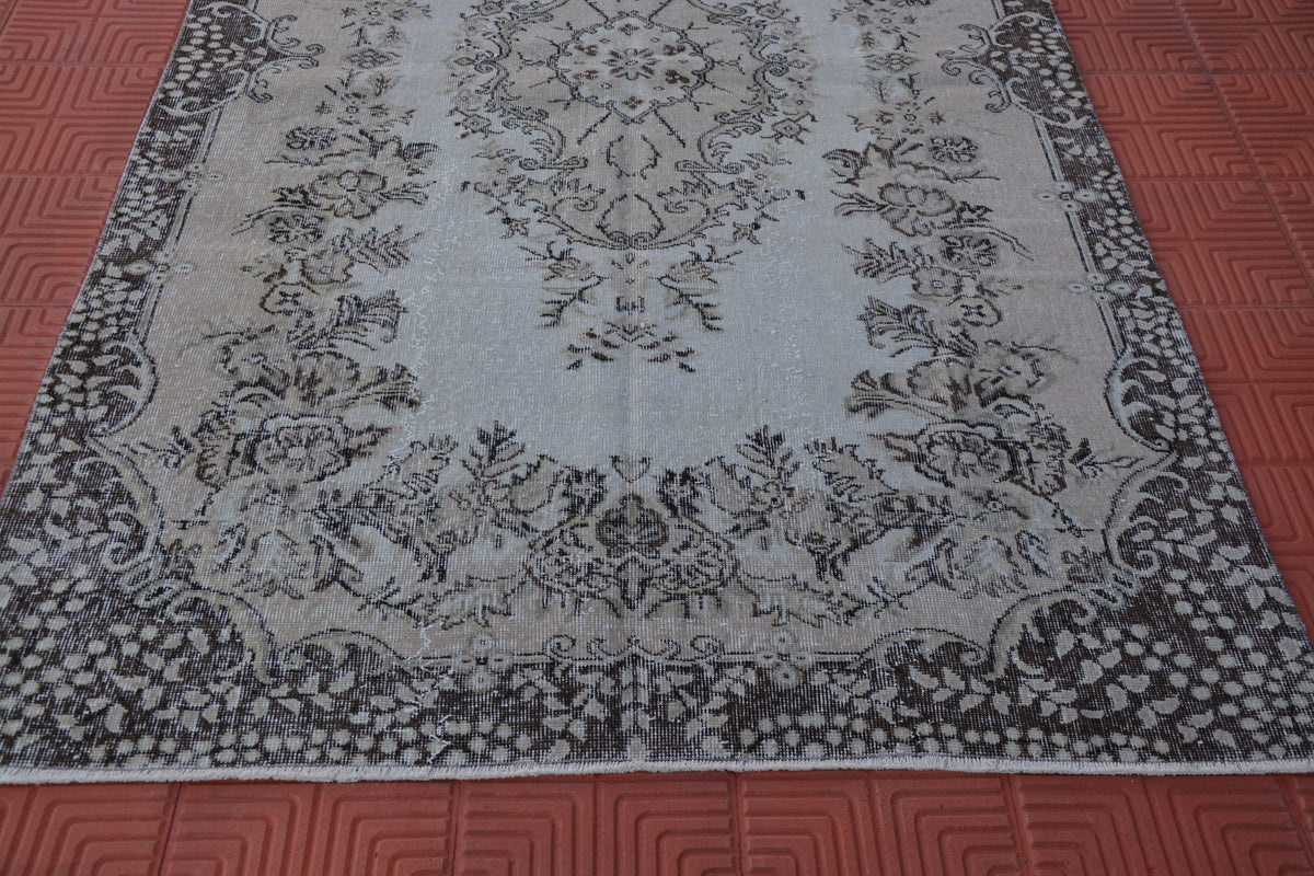 Turkish Oriental Rug, Large Turkish  Rug, Vintage Oushak Rug,  Turkish Large Rug, Vintage Turkish Rugs,          5.1 x 8.8 Feet AG1500