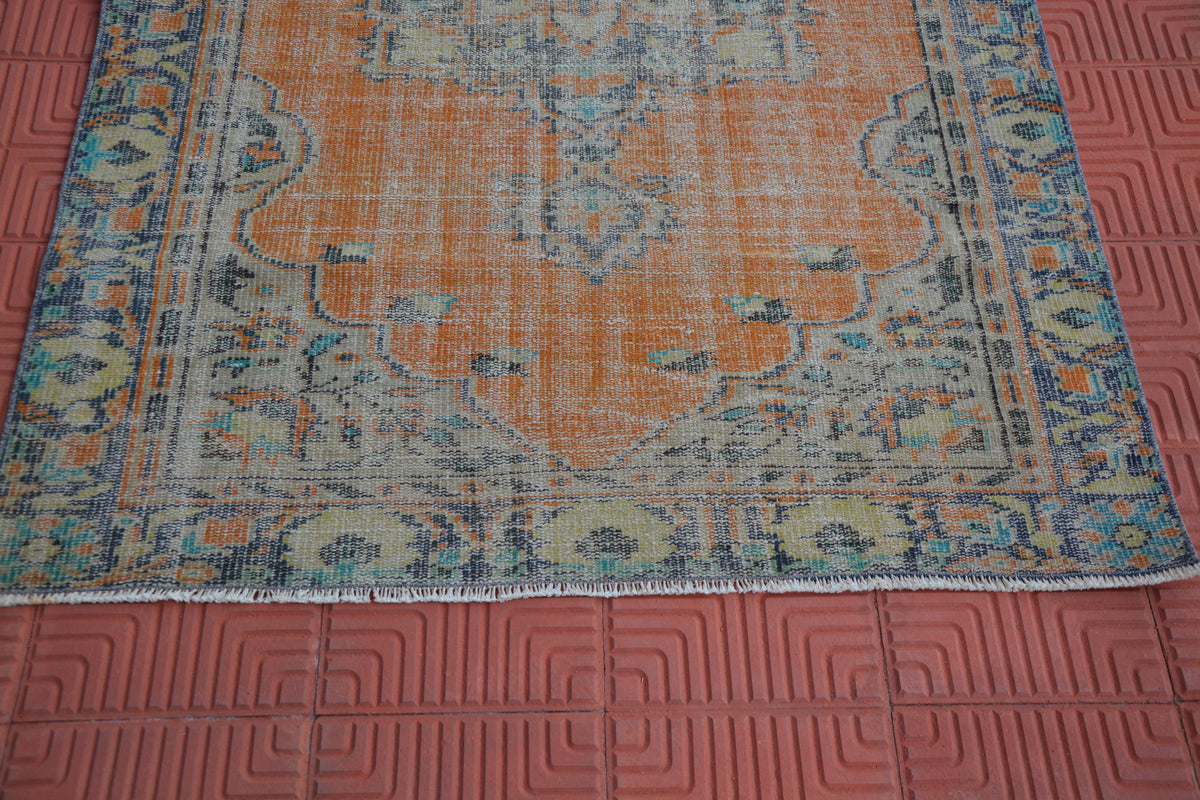 Turkish Low Pile Rug, Distressed Rug, Vintage Turkey Rug, Hand Made Turkish Rug, Wool Rug, Antique Rug, Handmade Rug,  4.2 x 6.4 Feet AG1563