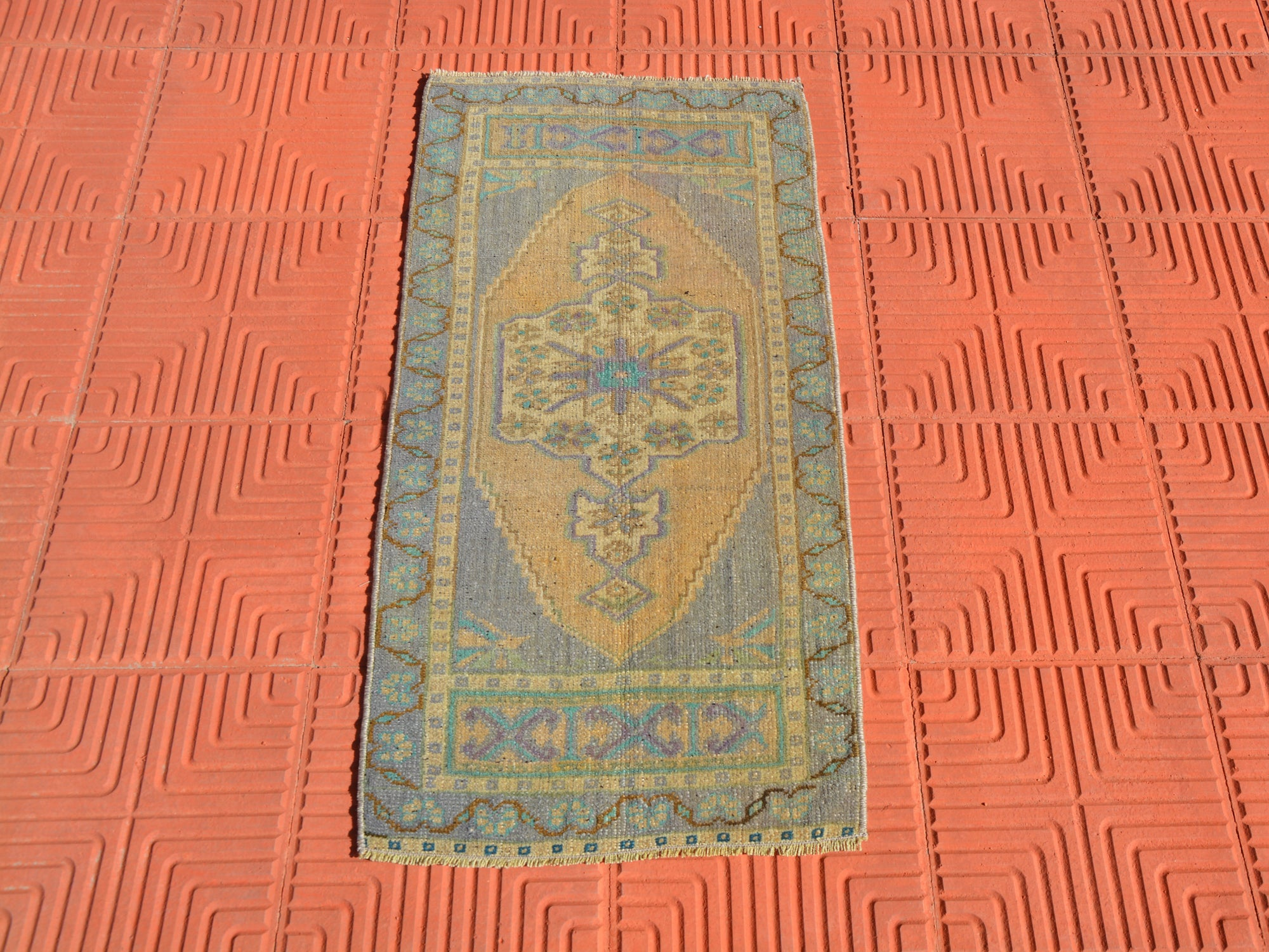 Turkish Rug,Small Turkish Rugs, Blue Rug, Antique Rug, Eclectic Vintage Rug, Vintage Turkish Rug,     1.6 x 3.3 Feet AG1607