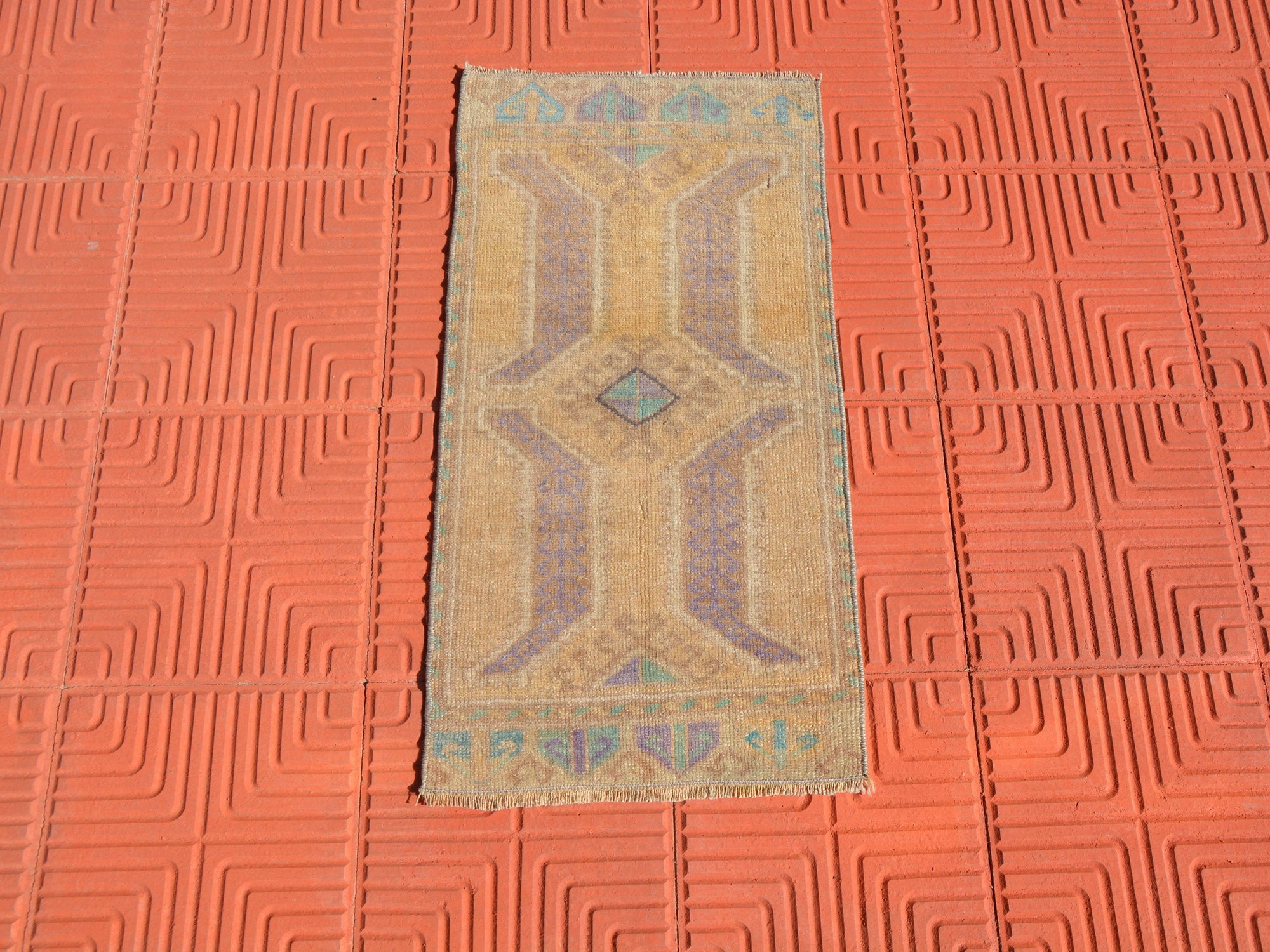 Turkish Rug,Moroccan Rug, Antique Rug,  Hand Knotted Rug, Turkish Rug Mat, Oushak Rug, Vintage Turkish Rug,   1.4 x 2.7 Feet AG1614