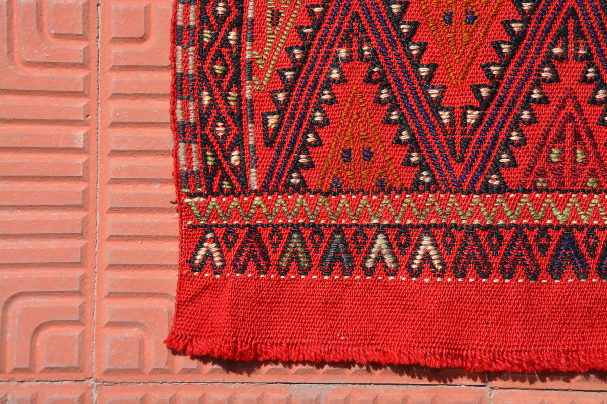 Aztec Rug, Turkish Kilim Rug, Red Rug, Oushak Runner Rug, Small Rug, Pastel Rug, Rugs For Home, Faded  Bohemian Rugs, 1.4 x 3.1 Feet AG1858