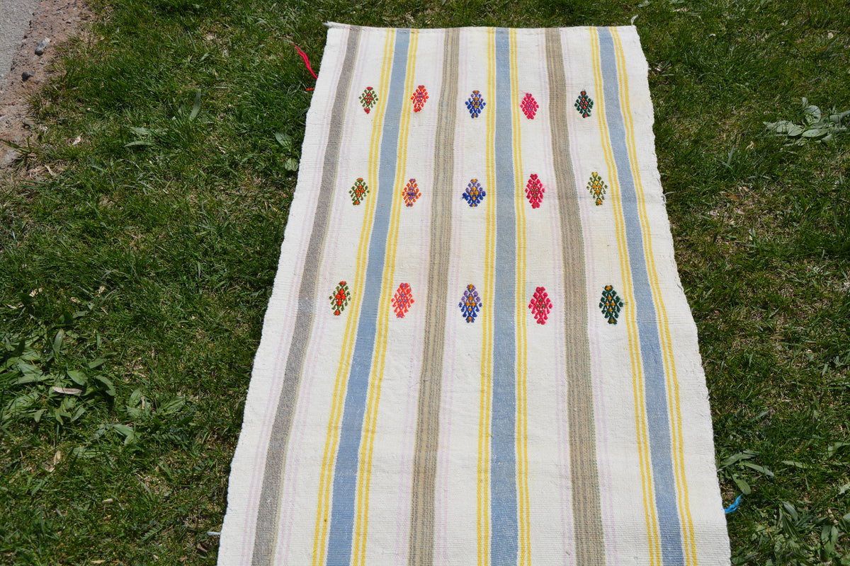 Turkish Runner Rug, Vintage Persian Rug, Striped Rug, Vintage Oriental Rug, Turkish Rug, Vintage Rug,     2.0 x 13.7 Feet AG1879