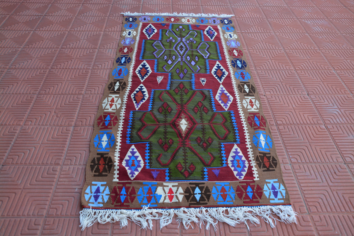 Turkish Small Rug, Living Room Rug, Vintage Oushak Rug, Hand Knotted Rug, Turkish Rug, Handwoven Rug, Muted Rug,   3.3 x 6.6 Feet AG1792