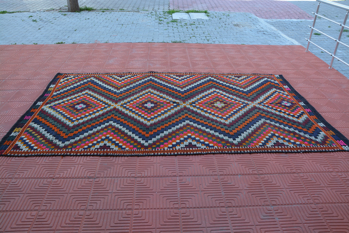 Kilim Rug, Antique Rug, Wool Rug, Anatolian Rug, Runner Rug, Turkey Rug, Decorative Rug, Boho Rug, Tribal  Floor Rug, 5.4 x 9.6 Feet AG1803