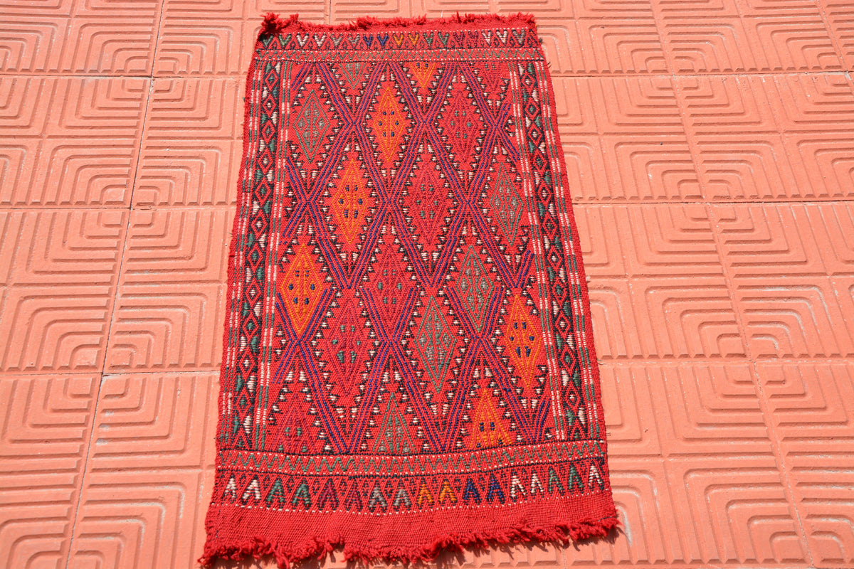 Small Oushak, Entryway Rug, Hand Knotted Rug, Small Vintage Entrance Mat Rug, Entrance Rug, Home Floor Rug,   1.7 x 3.3 Feet AG1852