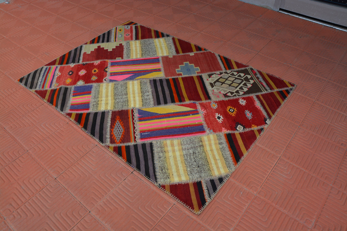 Patchwork Rug, Bedroom Rug, Geometric Rug, Oriental Rug, Oriental Carpet, Blue Rug, Pink Rug, Distressed Rug,   4.1 x 5.8 Feet AG1952