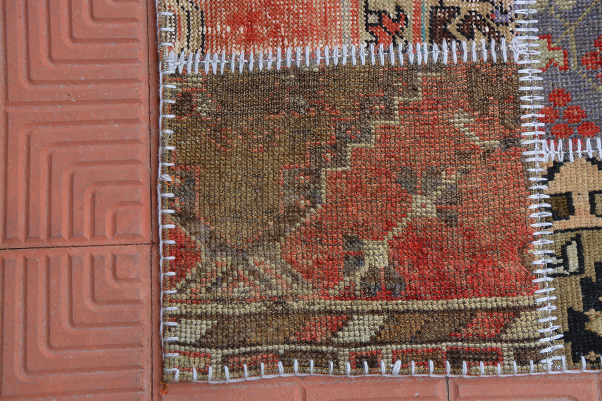 Patchwork Turkish Vintage Rug, Flatweave Rug, Corridor Rug, Contemporary Rug, Oriental Rug,Turkish Rug,  3.7 x 6.2 Feet AG1957