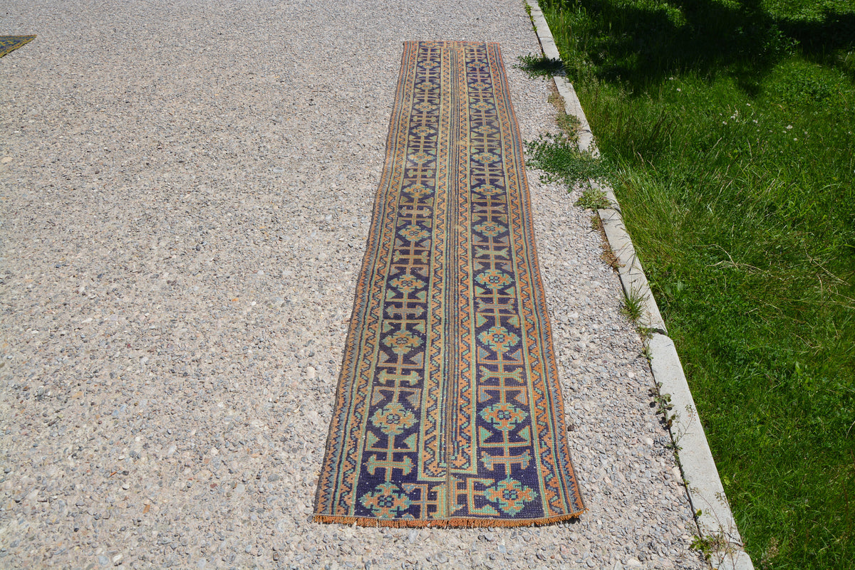 Persian Oushak Runner Rug, Turkish Rug, Vintage Rug, Antique Rug, Traditional Rug, Long Persian Rug, Persian Carpet,  1.9 x 11.1 Feet LQ075