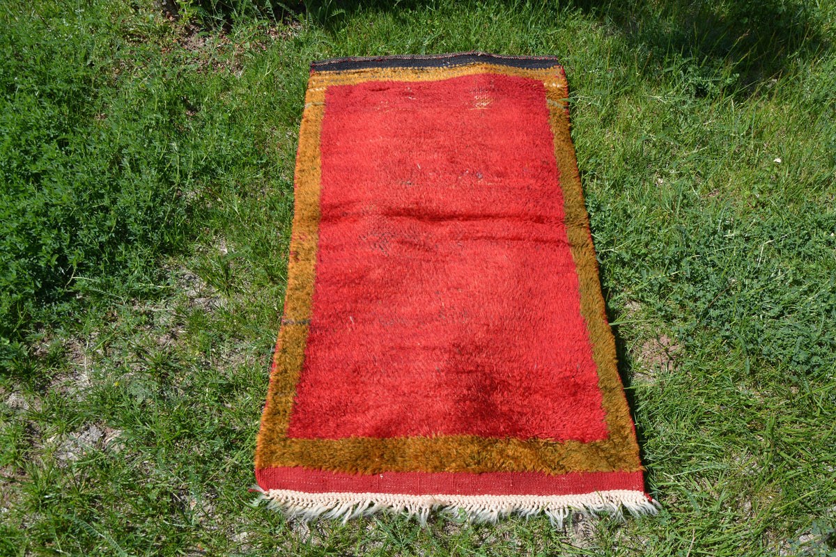 Red Vintage Rug, Turkish Rug, Antique Rug, Kilim Rug, Oriental Rug, Bathroom Rug, Golden Oushak Rug, Red Oushak Rug,    2.2 x 4.1 Feet LQ082