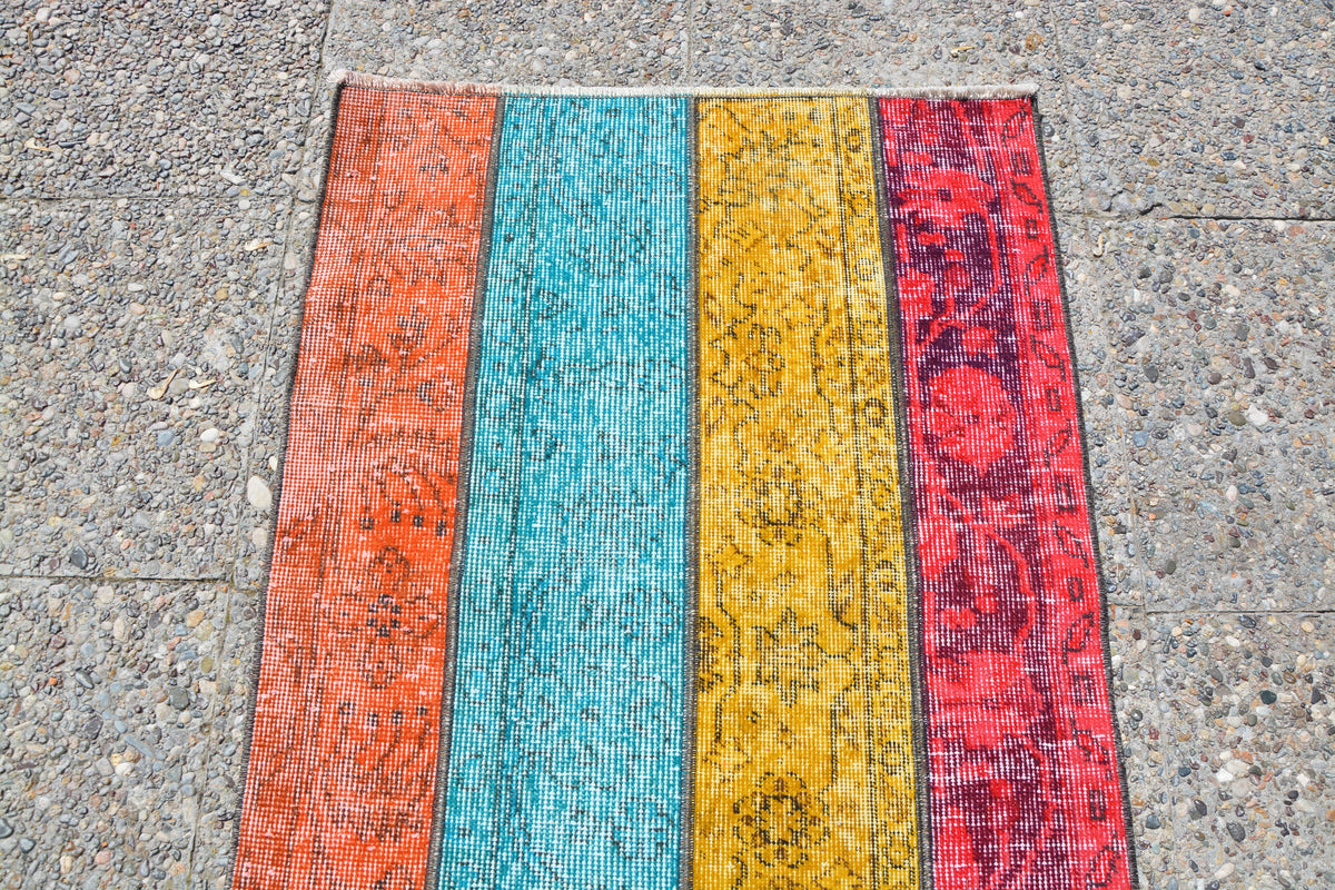 Vintage Rug, Persian Style Overdyed  Patchwork Oushak Rug, Blue Rug, Red Rug,Turkish Rug Runner, Multicolor Oushak Rug,2.3 x 6.5 Feet LQ087