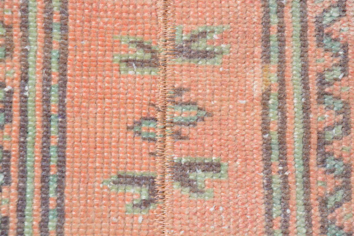 Orange Moroccan Rug, Green Rug, Vintage Berber Rug, Antique Moroccan Rug, Orange Rug, Moroccan Rug Runner,   1.8 x 11.3 Feet LQ092