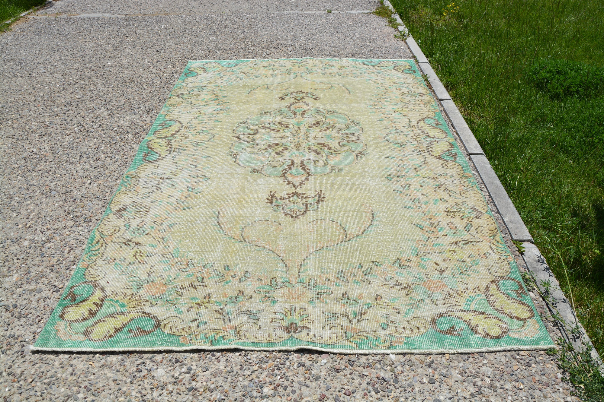 Turkish Vintage Antique Oushak Rug, Green Moroccan Oriental Berber Rug, Yellow Kelim  Art Deco Rug, 5.9 x 9.1 Feet LQ098
