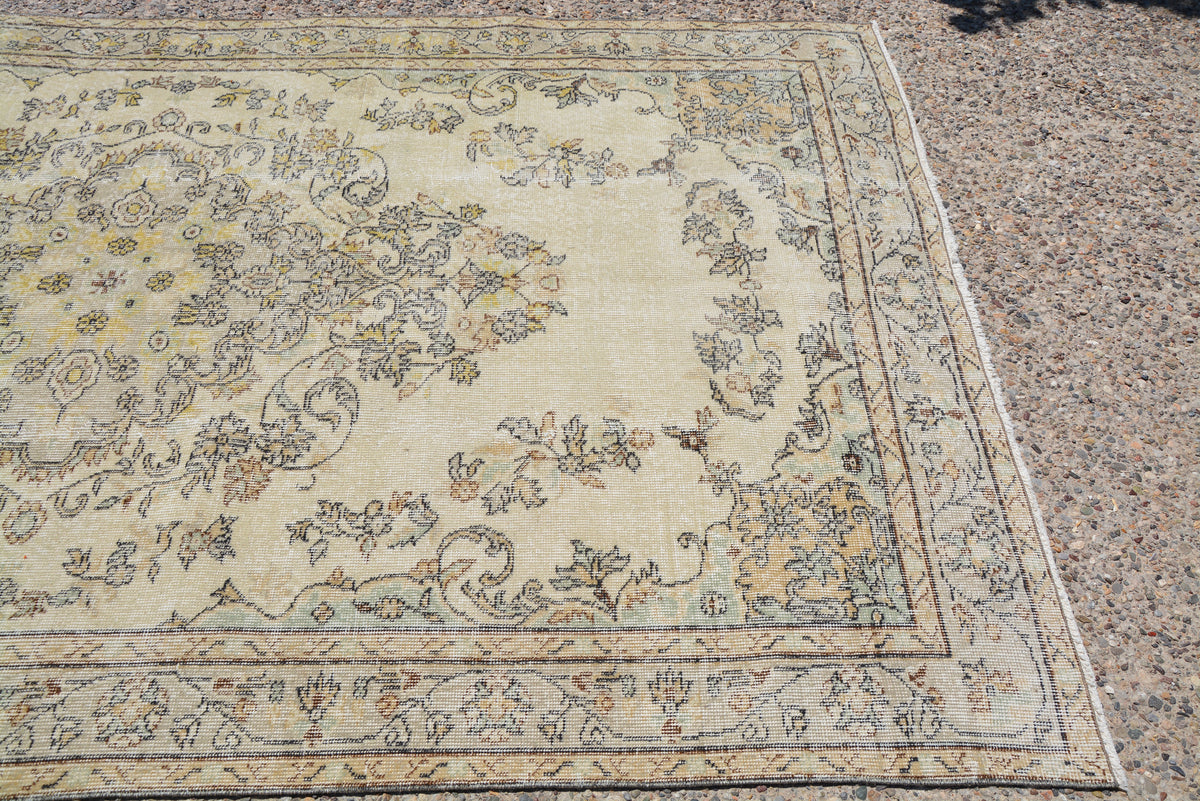 Faded Rug, Oushak Rug, Yellow Oushak Rug, Large Turkish Rug, Turkish Green Rug, Oriental Rug, Vintage Rug, Hooked Rug,  5.7 x 9.8 Feet LQ079