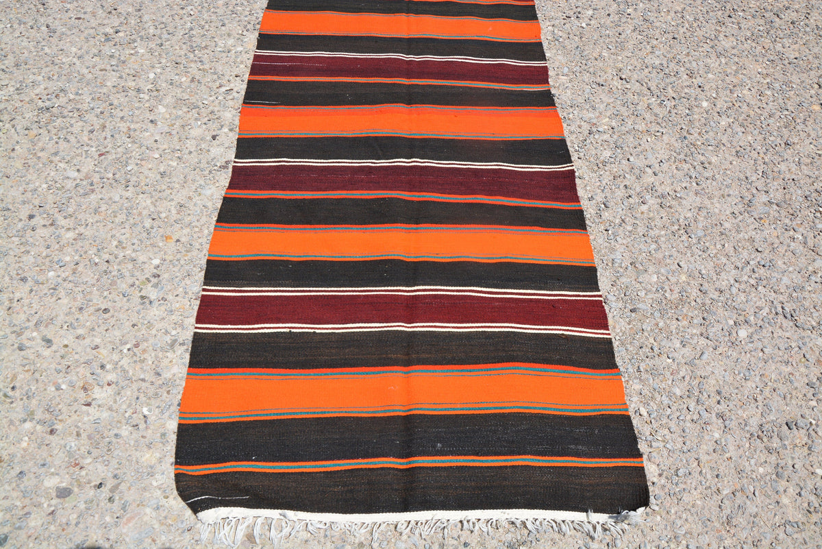Turkish Tapis Kilim, Ottoman Kilim Rug, Turkish Runner Rug, Kilim Striped Rug, Patterns Small Rug, Small Kitchen Rug,  2.7 x 10.6 Feet LQ237