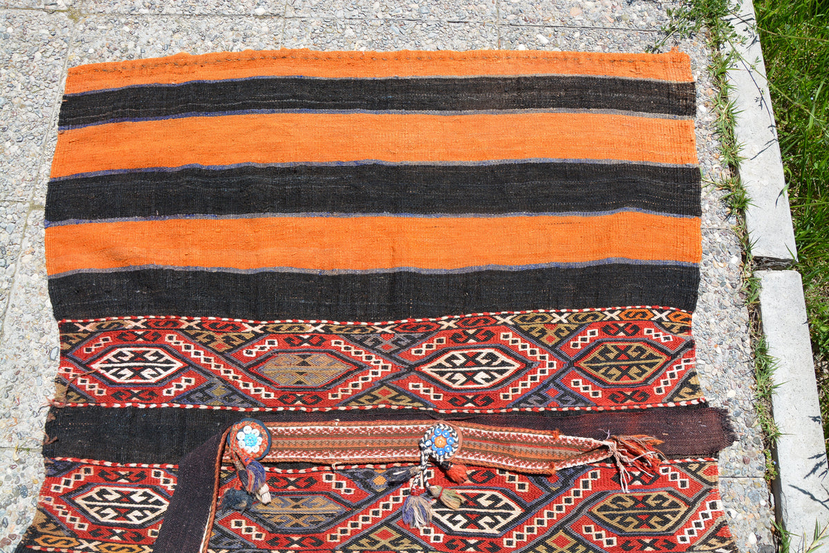 Turkish Anatolian Rug, Nursery Rug, Home Living Rug, Turkish Rug, Orange Vintage Antique Rug, Doormat Rug, Colorful Rug,3.2 x 4.5 Feet LQ274